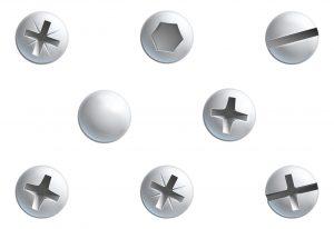 A set of screw,nuts, bolt and rivet head design elements